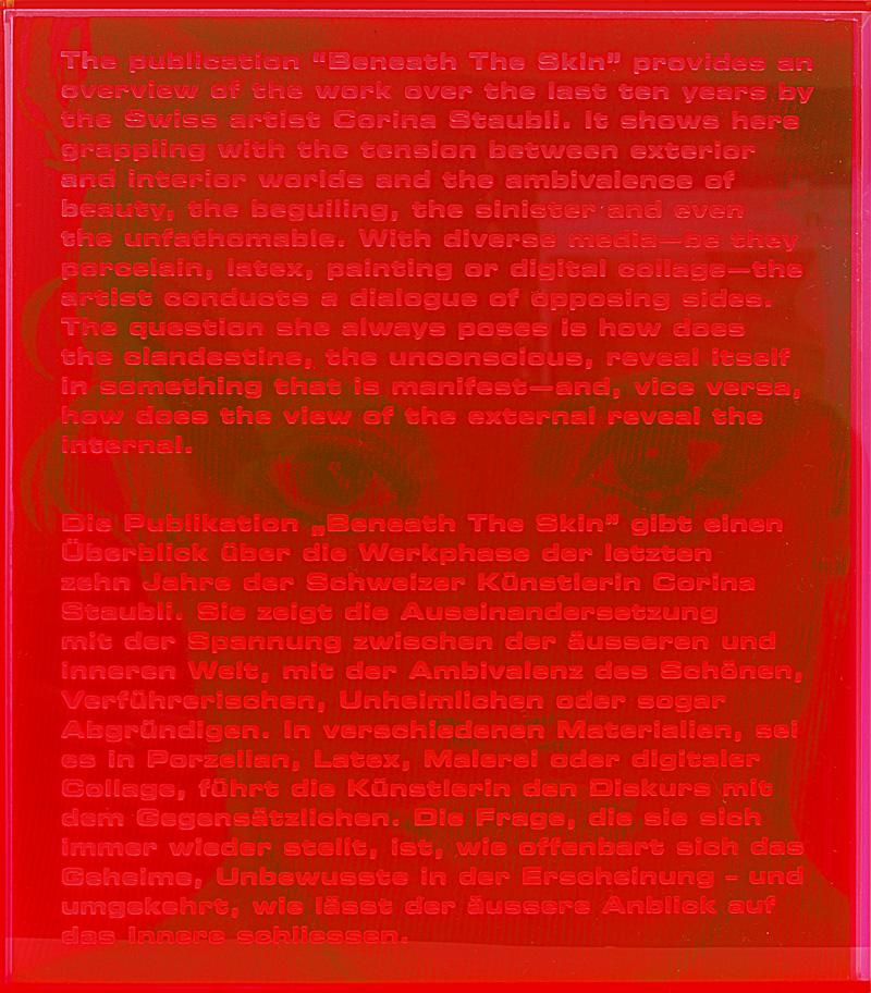 Kunstbuch Corina Staubli, Arnoldsche Art Publishers, 2017. Plexiglasschuber mit eingraviertem Text, Rückseite