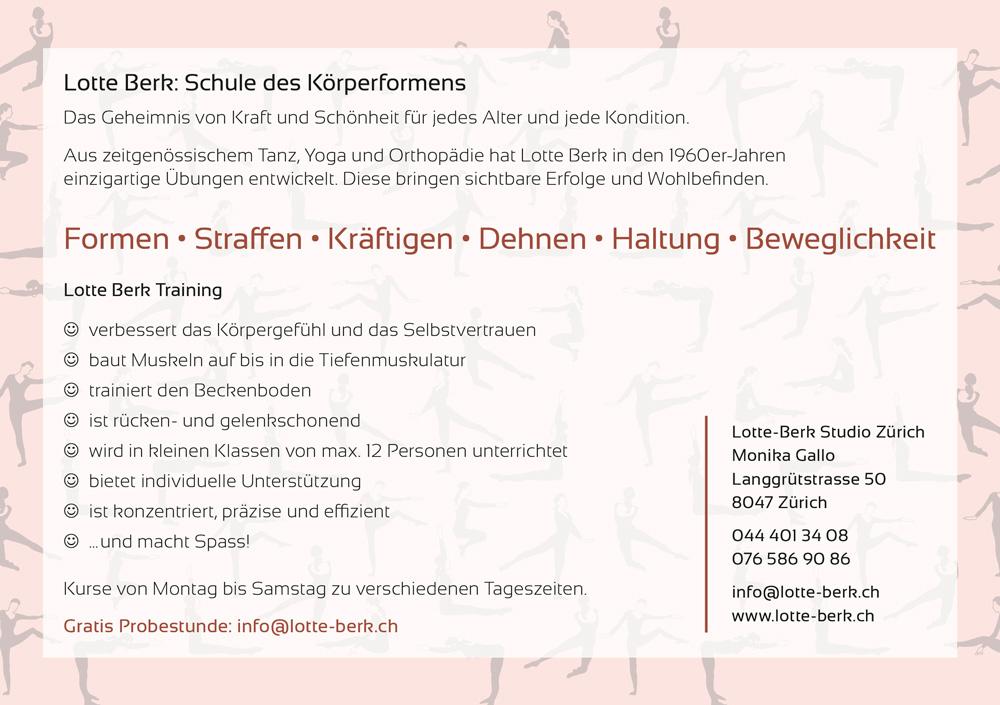 Flyer Lotte Berk Studio Monika Gallo Rückseite