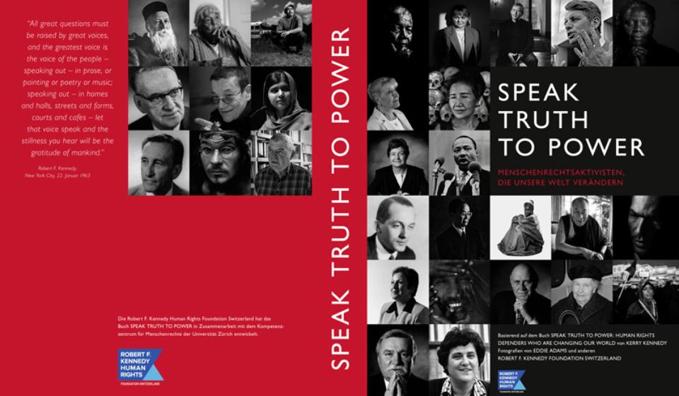 Cover Lehrmittel SPEAK TRUTH TO POWER, herausgegeben von der Robert F. Kennedy Human Rights Switzerland