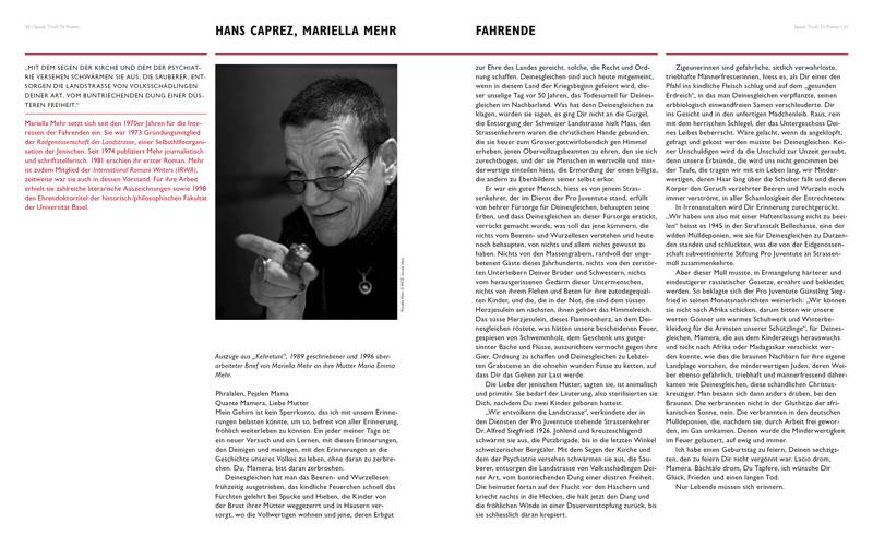 Doppelseite Lehrmittel SPEAK TRUTH TO POWER, herausgegeben von der Robert F. Kennedy Human Rights Switzerland. Portrait von Mariella Mehr, Text über Hans Caprez und seinen Einsatz für die Fahrenden.