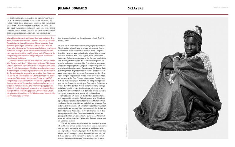 Doppelseite Lehrmittel SPEAK TRUTH TO POWER, herausgegeben von der Robert F. Kennedy Human Rights Switzerland. Portrait von Juliana Dogbadzi.