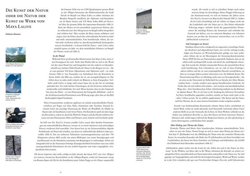 Kunstbuch Maya Lalive, Soulscapes and Landmarks, Somedia Buchverlag 2017, Textbeitrag von Dolores Denaro: Die Kunst der Natur oder die Natur der Kunst im Werk von Maya Lalive